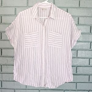 Lucky Brand Gray and white button down top